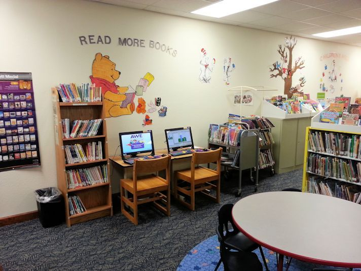 Children's area with wall art and computers